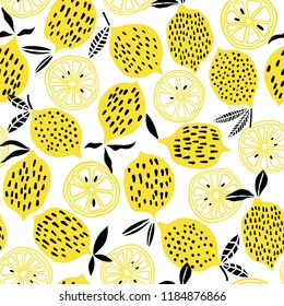 Lemon seamless pattern vector cute citrus background