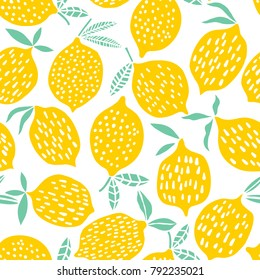 Lemon seamless pattern vector illustration. Summer design