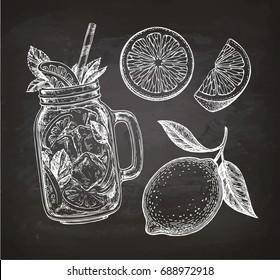 Lemon set. Chalk sketch on blackboard background. Hand drawn vector illustration. Retro style.