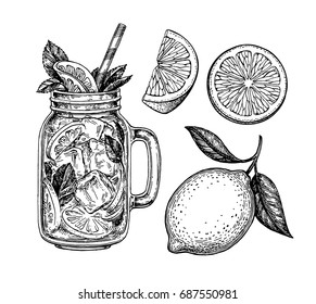 Lemon set. Isolated on white background. Hand drawn vector illustration. Retro style ink sketch.