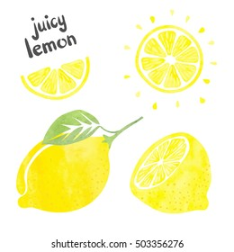 Lemon set. Vector watercolor collection of fresh lemon fruits.