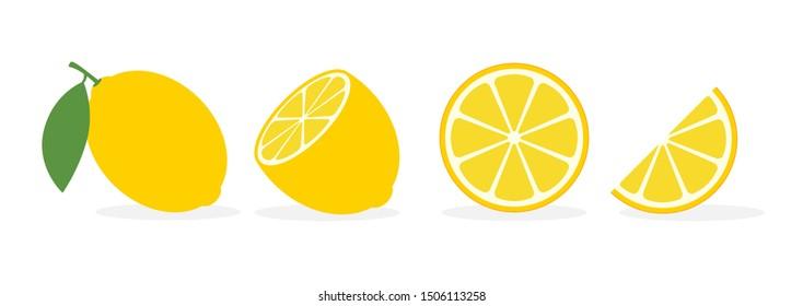Lemon slice citrus fruit flat icon. Vector lemon half cut logo, yellow simple illustration.