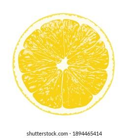Lemon slice, clipping path, isolated on white background, vector illustration.