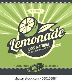 Lemon slice and lemonade - retro poster design for 100 percent natural drink. Vintage label for organic fruit product.