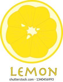 lemon slice on white, illustration