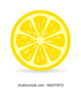 Lemon slice vector icon illustration on white background. Fresh sour vector lemon icon.