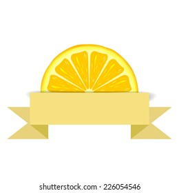 Lemon slice with yellow blank paper banner