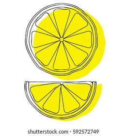 Lemon slices isolated on white background. Vector illustration. Use as prints, posters, printed materials, videos, mobile apps, web sites and print projects.