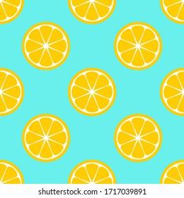 Lemon slices on blue background seamless pattern. Vector illustration.