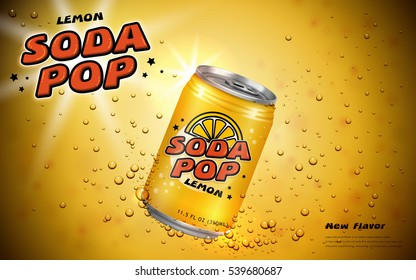 Lemon soda pop ads, soft drink poster design with container and bubbles in yellow tone, 3d illustration
