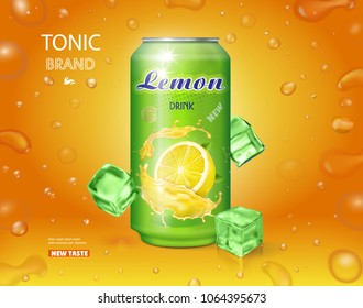 Lemon soft drink advertising. Lemonade can ads design Vector