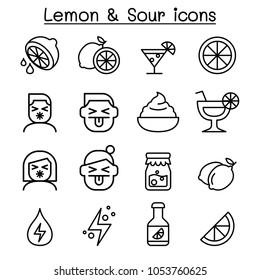 Lemon & sour icon set in thin line style