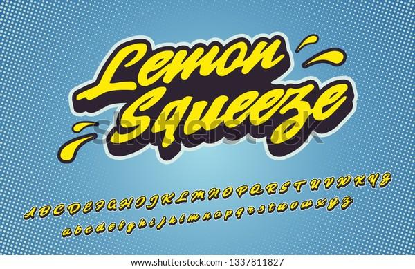 Lemon Squeeze 3d Vintage Script Font Stock Vector (Royalty