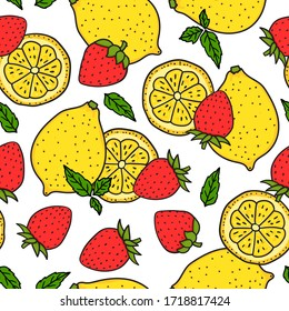 Lemon and strawberry with mint leaves. Seamless pattern. Red and yellow colors. Whole lemon and a round slice. Vector hand drawn illustration Surface design isolated on white background.