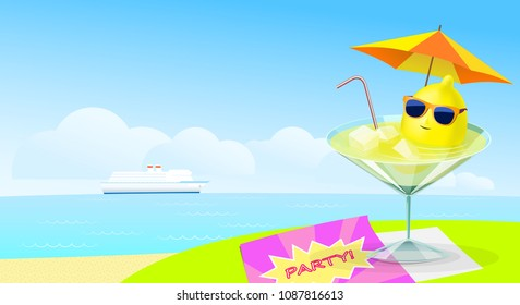 Lemon in sunglasses floating in a glass with a drink. Lemon cocktail on the table on the beach. Party. Flyer design. Beach Bar poster. VECTOR illustration.
