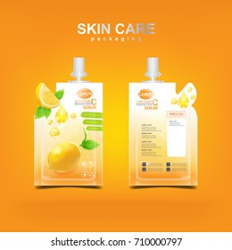 Lemon Super Vitamin C Booster Serum and Collagen Template for Skin Care Packaging Design Vector Concept.