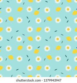 Lemon and sweet white flower seamless pattern.