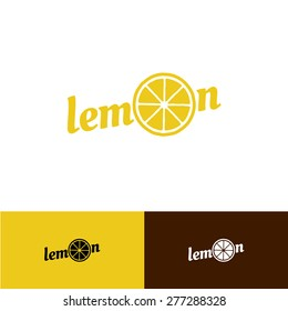Lemon text logo with slice in a O letter place
