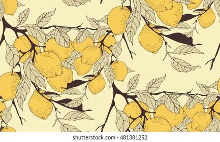 lemon tree branch seamless pattern in sepia shades