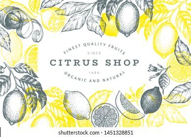 Lemon tree frame template. Hand drawn vector fruit illustration. Engraved style banner. Vintage citrus design.