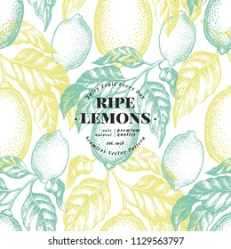 Lemon tree seamless pattern. Hand drawn vector fruit illustration. Engraved style. Vintage citrus background.