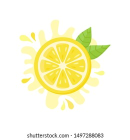 Lemon vector icon, flat illustration. Yellow fresh half cut lemon with squeezed juice behind and green leaves. Isolated.