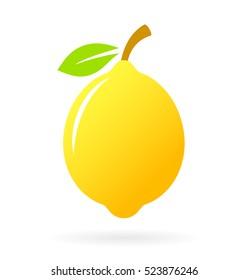 Lemon vector icon illustration isolated on white background. Yellow lemon clip art.