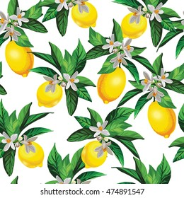 Lemon vector pattern with creative texture and flowers.Seamless decorative background.Hand drawing illustration for cover, wallpaper, textile design.