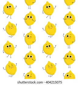 Lemon, vector seamless pattern with cute fruit characters isolated on white