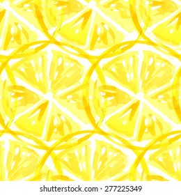 Lemon.  Vector watercolor. Seamless vector pattern. Fruits.