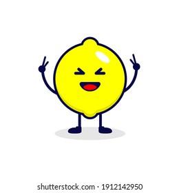 Lemon very happy cute character illustration