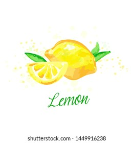 Lemon watercolor imitation design with paint splashes Vector illustration with lemons isolated. Fruit tea tag, card, colorful print, lemonade hand drawn poster