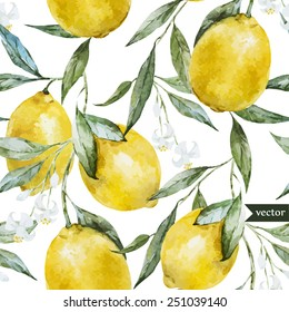lemon, watercolor pattern, background, fruit, wallpaper, painting, drawing