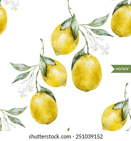 lemon, watercolor, pattern, background, fruit, wallpaper