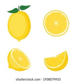 Lemon, whole fruit, half and slices, vector illustration