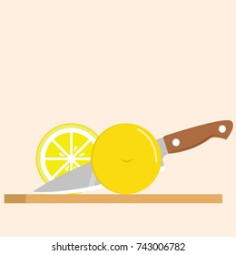 Lemon yellow  on chopped board. free space for text. Cut half