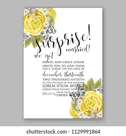 Lemon yellow ranunculus rose peony Floral wedding invitation vector printable card template