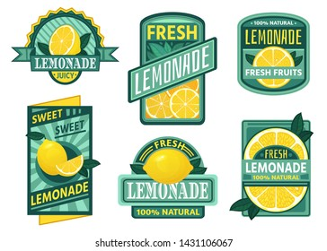Lemonade badge. Lemon syrup, fresh lemonades emblems and lemons fruits juice drink vintage badges. Vegetarian juice brand sticker, cold lemon tea or rustic homemade lemonade. Isolated vector icons set