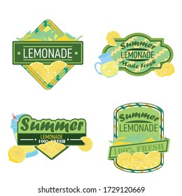 Lemonade badges. Colorful  Lemonade label poster vector illustration.Lemon slice and lemonade - retro poster design for 100 percent natural drink.