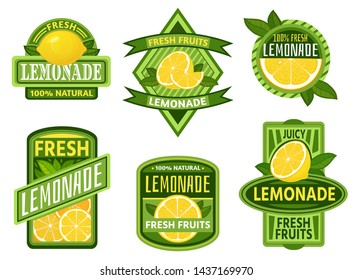 Lemonade badges. Lemon drink emblem badge, fresh fruits lemons juice vintage lemonades emblems. Drinks bars sticker, detox lemonade or fruits fresh juicy lemon label. Isolated vector icons set