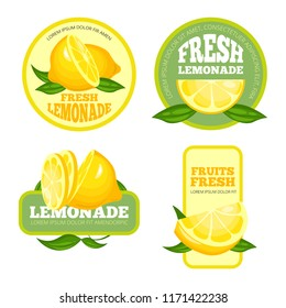 Lemonade badges. Lemon juice or fruit syrup lemonade vector labels or logo illustrations. Lemonade juice and lemon drink