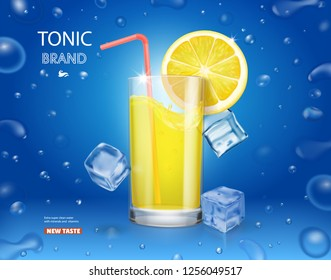 Lemonade glass with ice cubes and fresh lemon