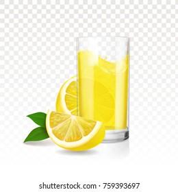 Lemonade glass with pieces of lemon. Vector realistic