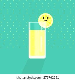 Lemonade in a glass with a slice of lemon on a turquoise background. Cartoon. Vector.