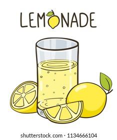 Lemonade glass with slice of lemons and lemon. Lemonade lettering. Lemonade logo.