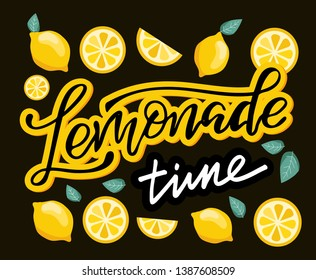 Lemonade - hand drawn doodle lettering label art design banner with lemon