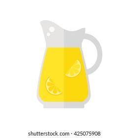 Lemonade Juice jug icon on white background. Fresh juice. Healthy drink. Flat style vector illustration.