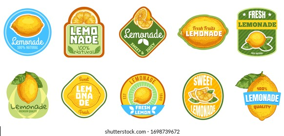 Lemonade label. Natural lemon juice, fresh fruits lemonades drinks badge and summer sweet beverage sticker vector set. Fruit summer beverage juice, citrus badge sticker illustration
