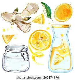 Lemonade, lemons and ginger, a bottle of lemonade, lemon juice, water-color drawings on a white background, vector illustration hand