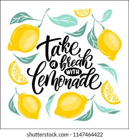 Lemonade lettering with lemon label. Brush calligraphy of word lemonade.